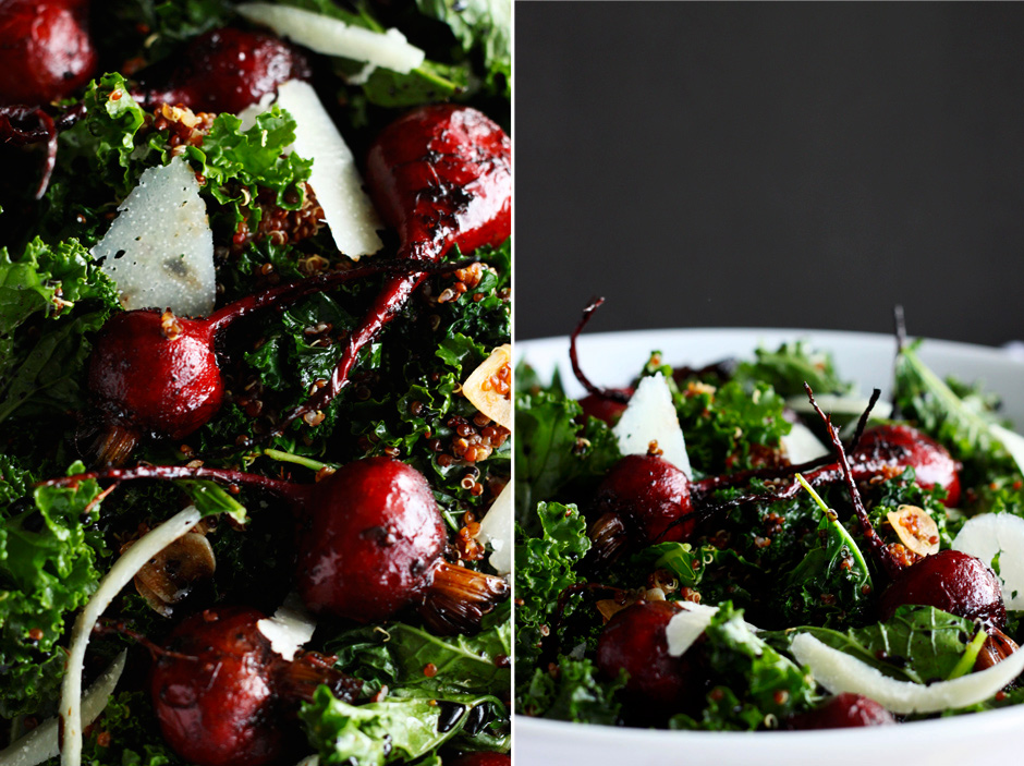Warm Kale salad with Quinoa + Balsamic Roasted Beets