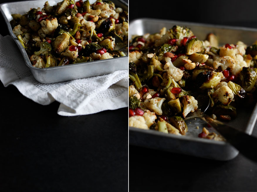 Roasted Brassica toss with Pomegranate, Hazelnuts + Maple Dijon Dressing