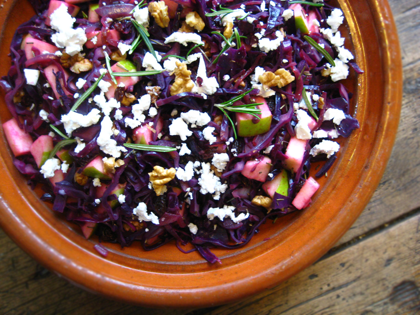 Warm Cabbage Salad with Green Apple and Goat Cheese