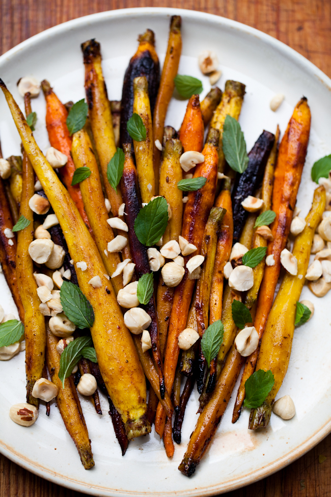 Maple Glazed Carrots with Cumin, Cinnamon, Hazelnuts and Mint