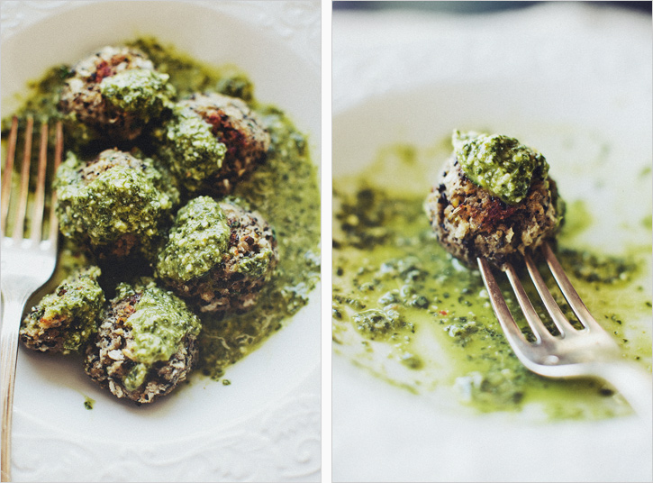 Lentil Meatballs in Lemon Pesto