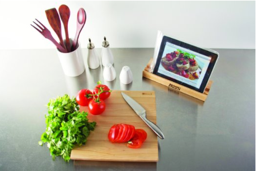 Cutting board with tablet ipad stand