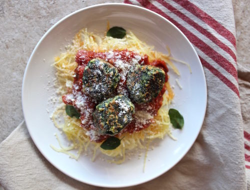 Spaghetti squash and spinach meatball