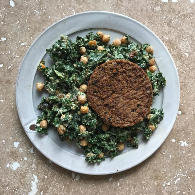 Favorite lunch goto vegan kale Caesar with garlic chickpea croutonshellip